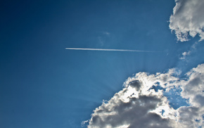 airplane, sky, light, aircraft, rays