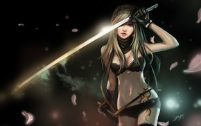 katana, gun, sword, fantasy, girl