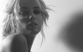 Amber Heard, photo, black and white, girls, blonde