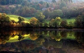 trees, nature, river, landscape, lodge