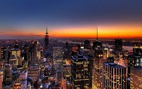 evening, cities, city, skyscrapers, New York City