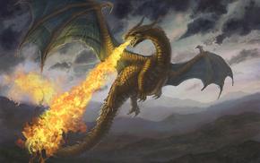 fantasy, fire, dragon, mountain