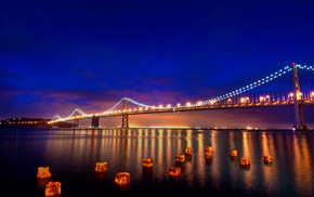 evening, cities, lights, bridge