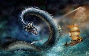 sea, ship, storm, fantasy