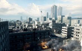 города, небо, огонь, Armored core