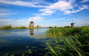 Голандия, мельницы, река, канал, природа