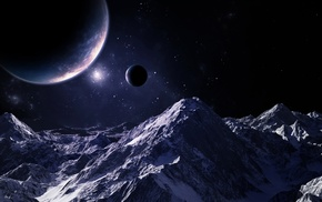 stars, sky, mountain, space, planets