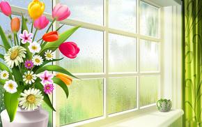 chamomile, tulips, vase, spring, flowers