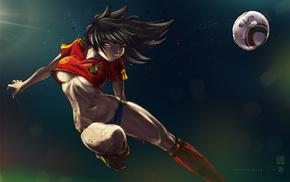 girl, anime, soccer, sports