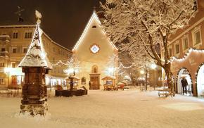 resort, winter, snow, Italy, house