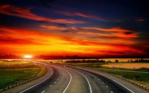 закат, природа, пейзаж, трава, Дороги, облака