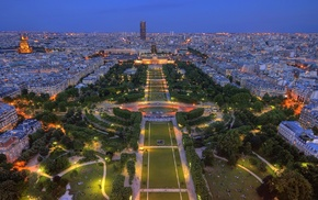 France, Paris, park, cities, lights