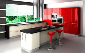 table, red, style, kitchen, window