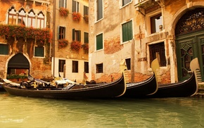 cities, Italy, houses, flowers, water
