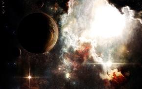planet, stars, nebula, space