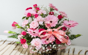 bouquet, flowers, basket