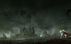 fantasy, dragon, castle, tower, art
