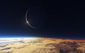 космос, Планета, небо, спутник, горизонт