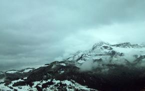 лес, небо, пейзаж, зима, Природа, облака