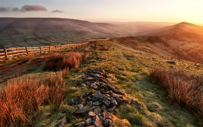 wallpaper, valley, hills, morning, nature