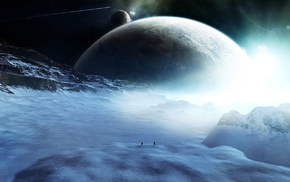 3D, stars, planets, space, snow