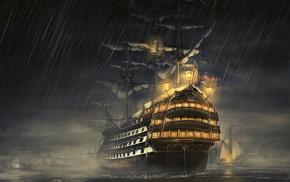 фрегат, парусник, море, корабль, ночь, фэнтези