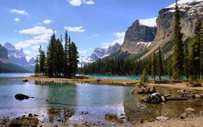 лес, природа, Канада, пейзаж, озеро, остров