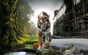 робот, креатив, тигр