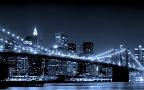river, lights, bridge, cities