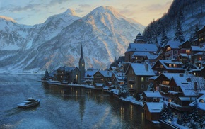 village, mountain, alps, lake, hallstatt, lushpin