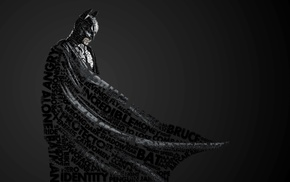 monochrome, Batman, typographic portraits