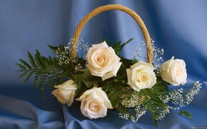 basket, flowers, bouquet