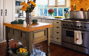 interior, table, flowers, style, kitchen