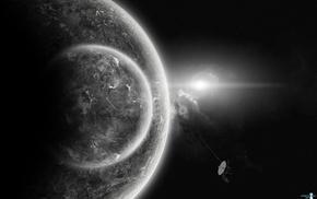 satellite, space, planet