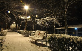snow, bench, winter, trees, evening