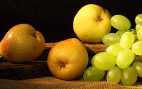 вкусно, pears, фрукты, желтые, виноград, grapes
