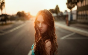 girl, Janina Knopf, hair in face, sunlight, long hair, model