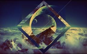 горы, облака, луна