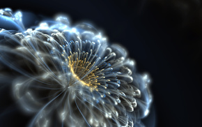 flower, neon, 3D, abstraction