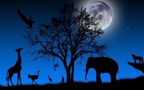 дерево, звери, ветки, крона, животные, пейзаж