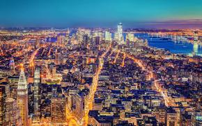 cities, New York City, lights, evening