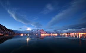 nature, lights, evening, city, lake