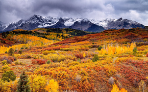 clouds, mountain, autumn, forest, paints