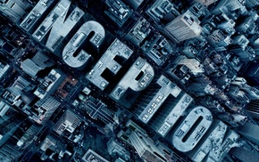 aerial view, skyscraper, Inception, typography, city