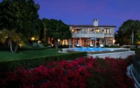 nature, trees, villa, house, swimming pool