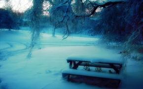 snow, trees, bench, motion blur, park