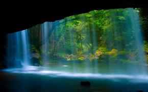 Природа, скала, лес, водопад, река