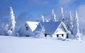 winter, landscape, snow, house, nature