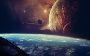 artwork, sky, space, planet, stars, concept art