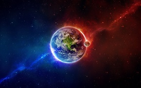 space, space art, abstract, colorful, Earth, planet